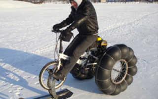Как сделать из велосипеда снегокат. Мощный велосипед-снегомобиль